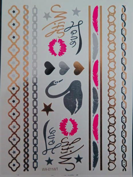 металическое блестящее тату с лебедем и надписями