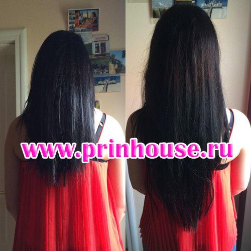 Волосы на заколках до и после