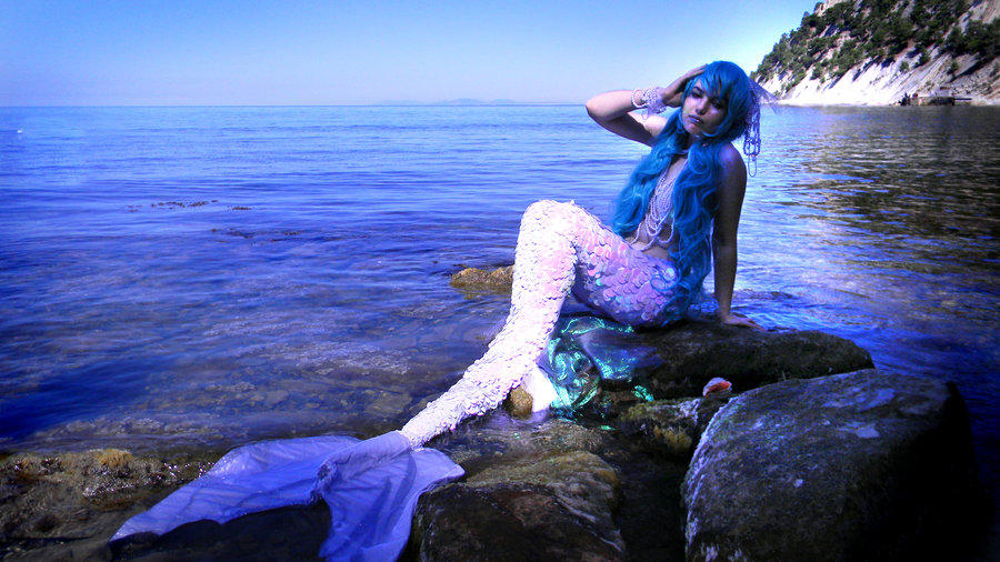 русалка синий парик