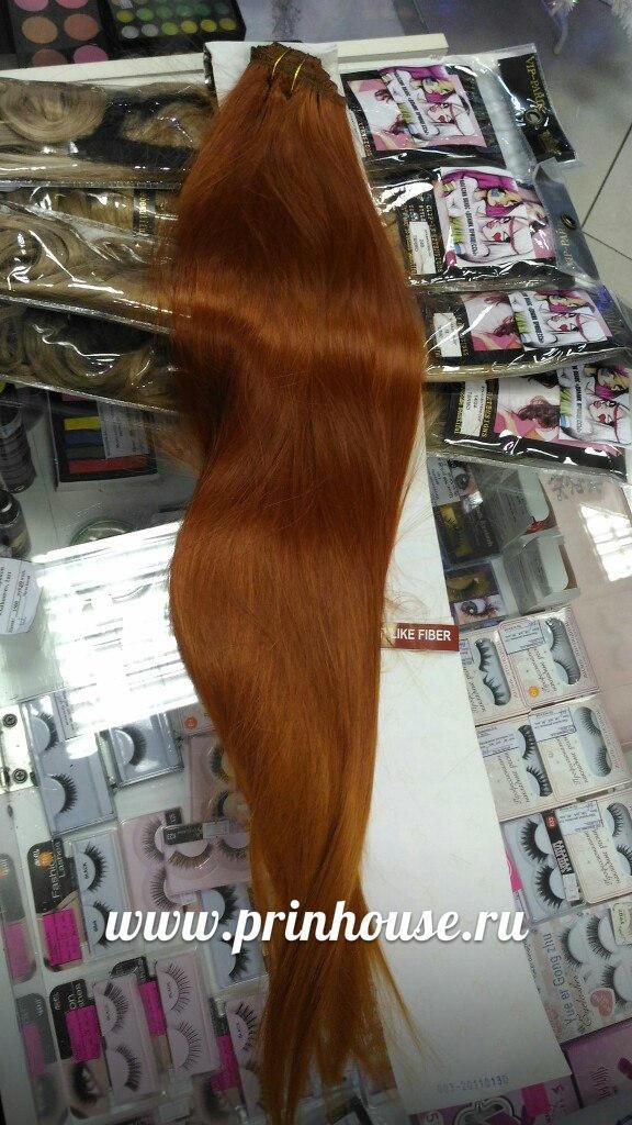 ярко рыжие волосы на заколках длинные 75см