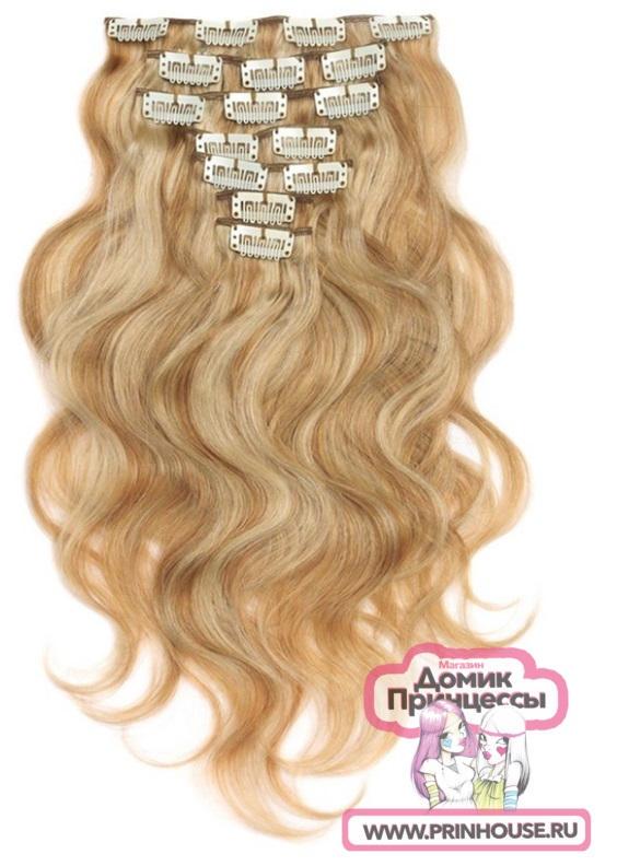 волосы на заколках локоны цвет блонд