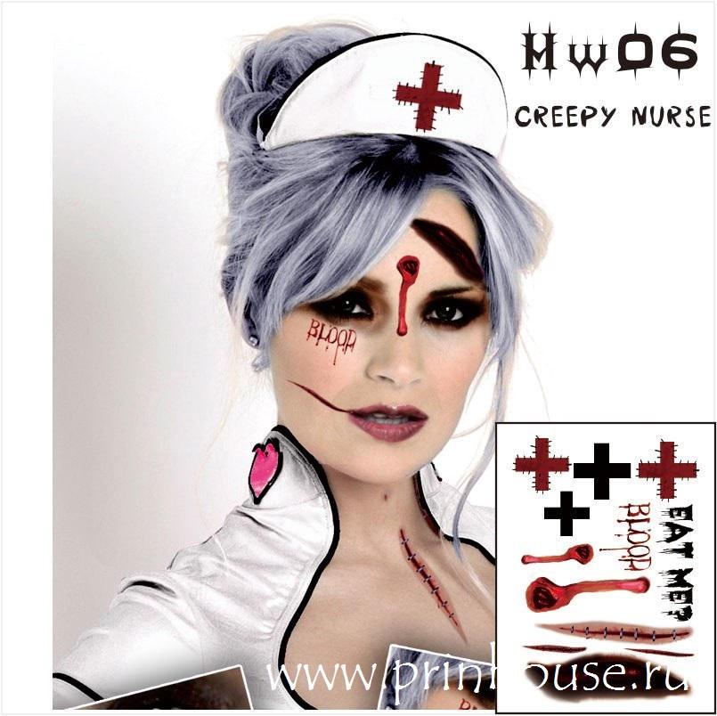 Водостойкие временные татуировки Creepy Nurse на карнавальный грим