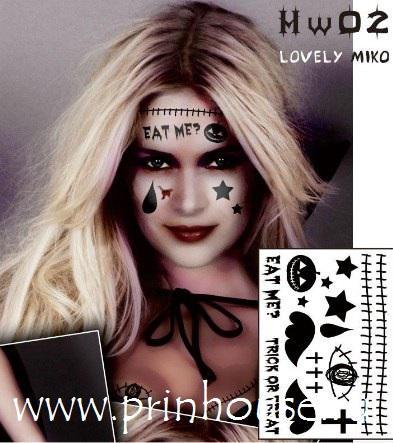 Водостойкие временные татуировки Lovely Miko для карнавального грима