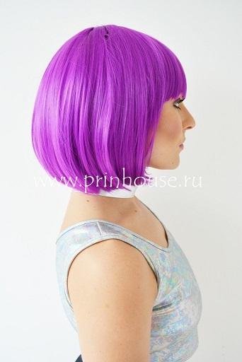 парик каре цвет ярко-фиолетовый