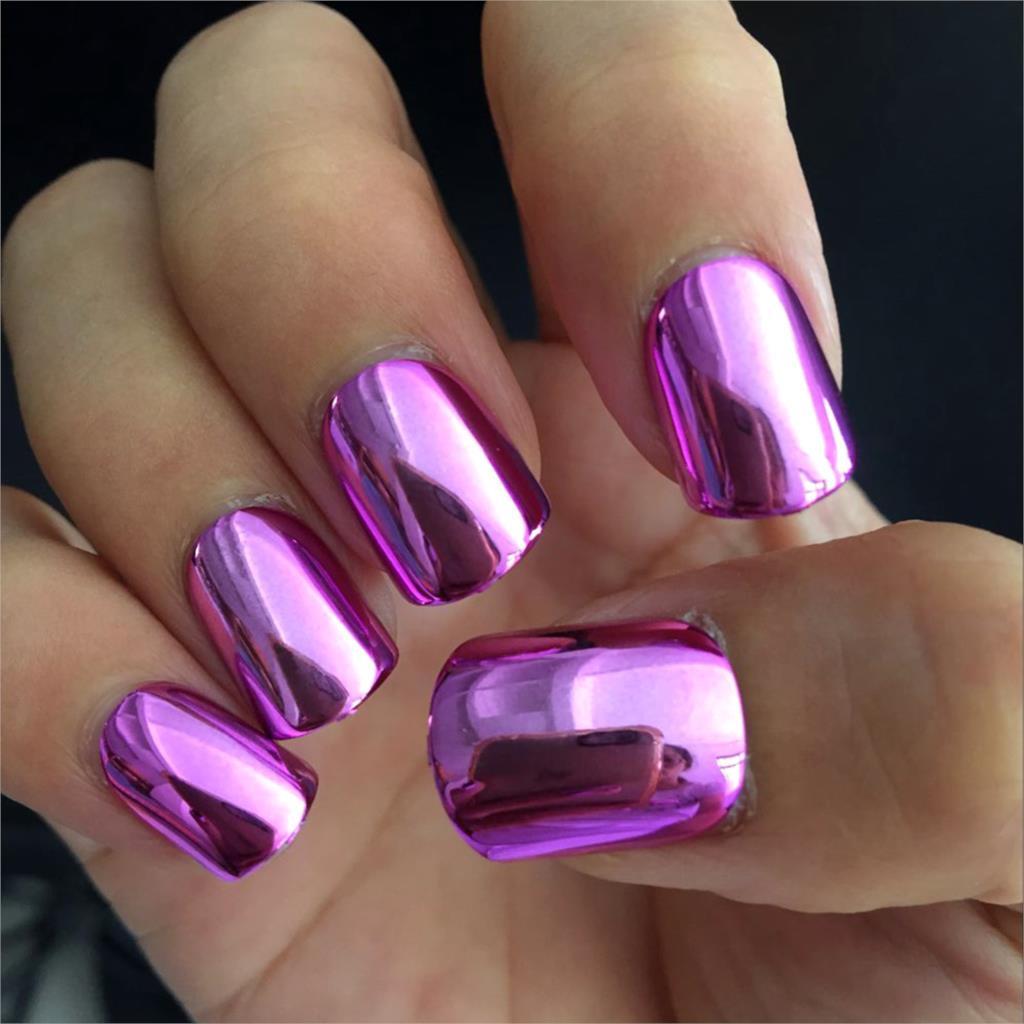 Фото ногтей розовый с фиолетовым