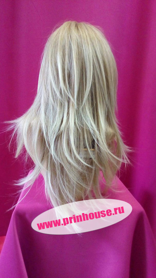 Парик термо стрижка средней длины цвет 15Т613 меллированный блонд